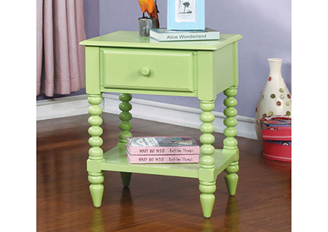 Lindsey Apple Green Nightstand w/Shelf,Furniture of America