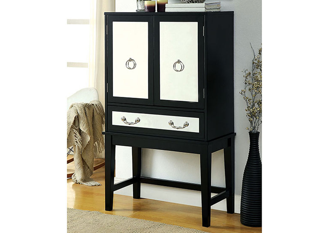 Caris Black Wine Cabinet w/Mirrored Panels,Furniture of America