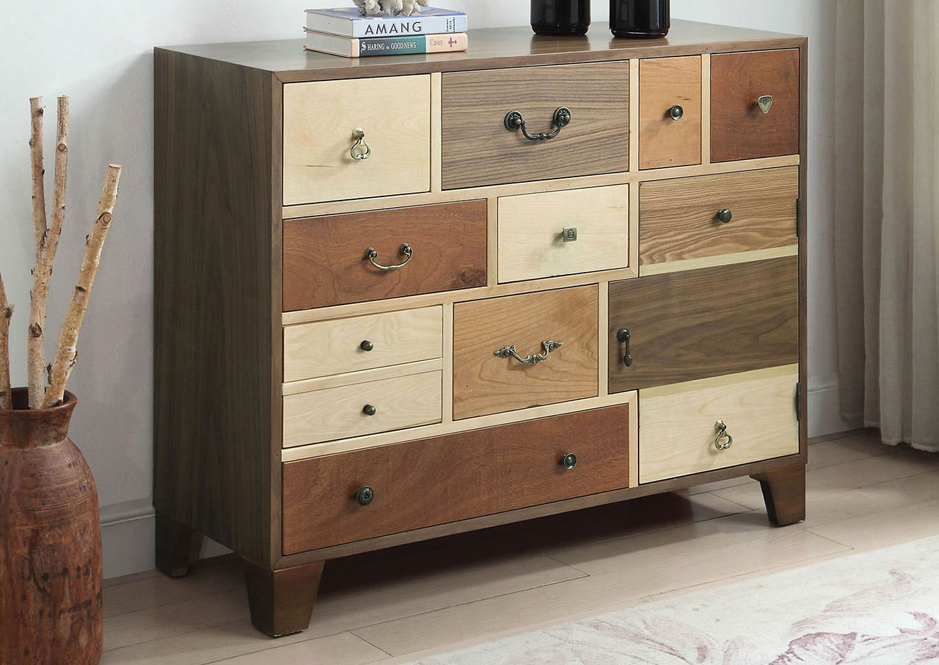 Dinah Walnut/Multi Hallway Cabinet,Furniture of America