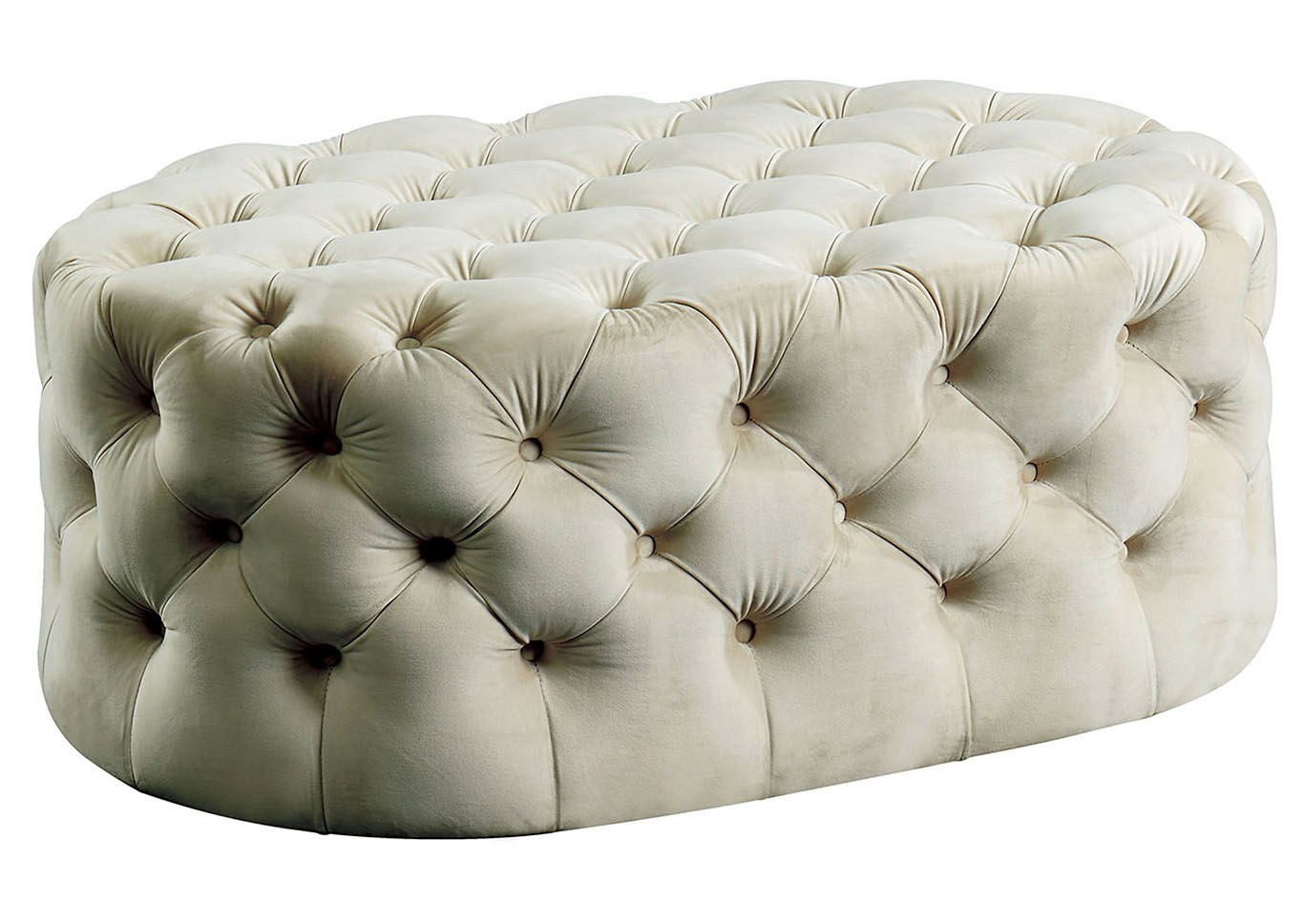 Malina Beige Upholstered Ottoman,Furniture of America