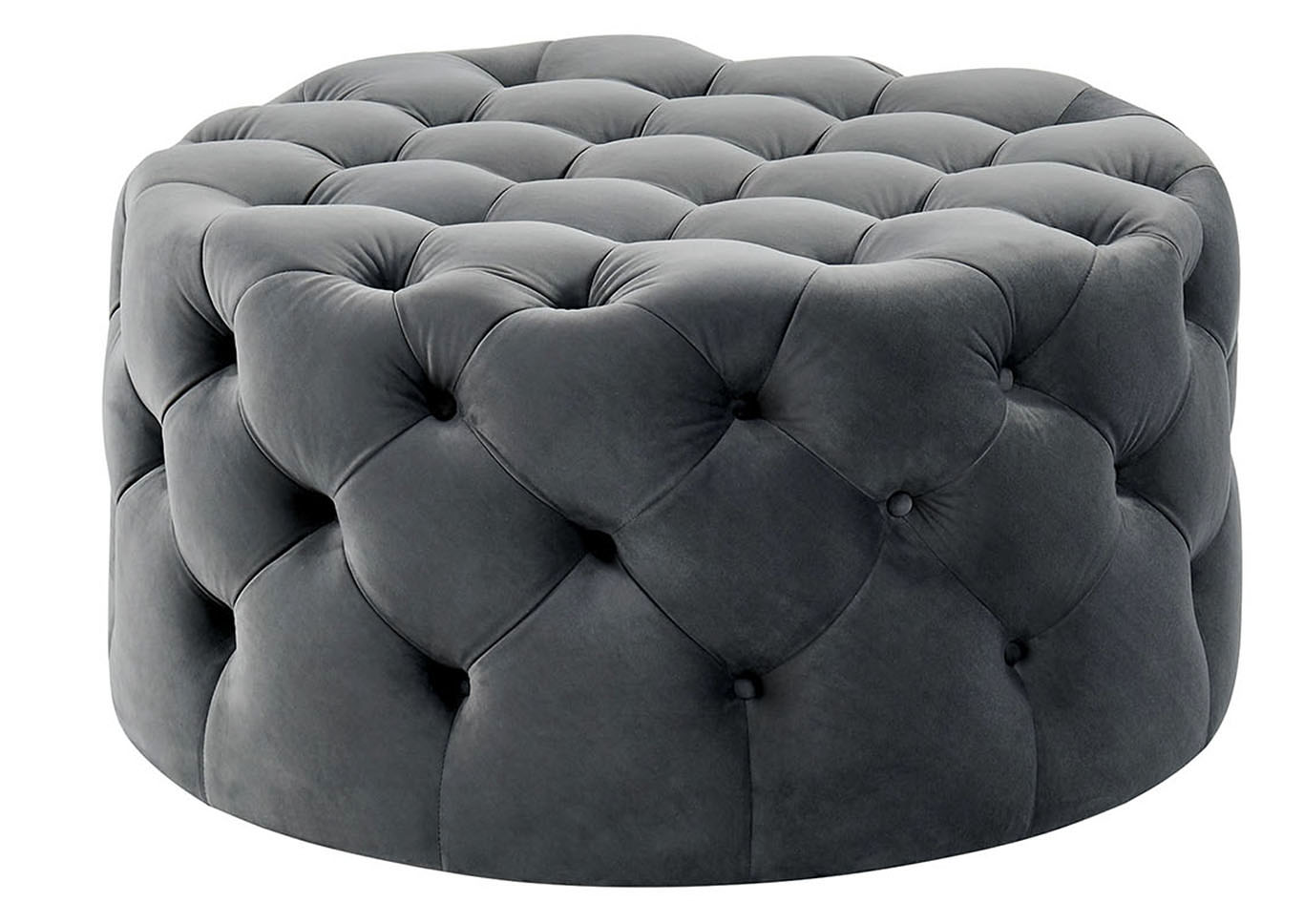 Alina Gray Upholstered Ottoman,Furniture of America