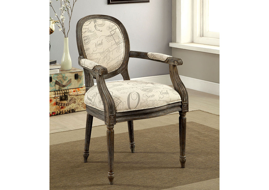 Firth ll World Traveler Pattern Upholstered Accent Chair w/Reclaimed Wood,Furniture of America