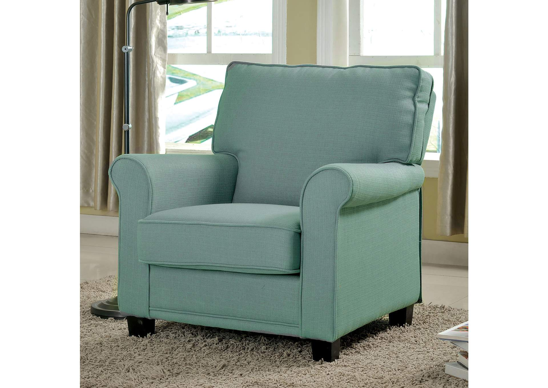 Hollywood Mattress And Furniture Belem Blue Accent Chair Wrolled Arms