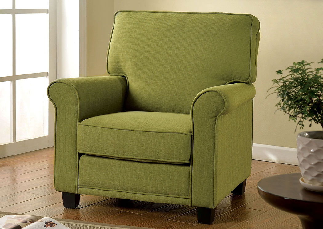 Belem Green Accent Chair W/Rolled Arms,Furniture Of America