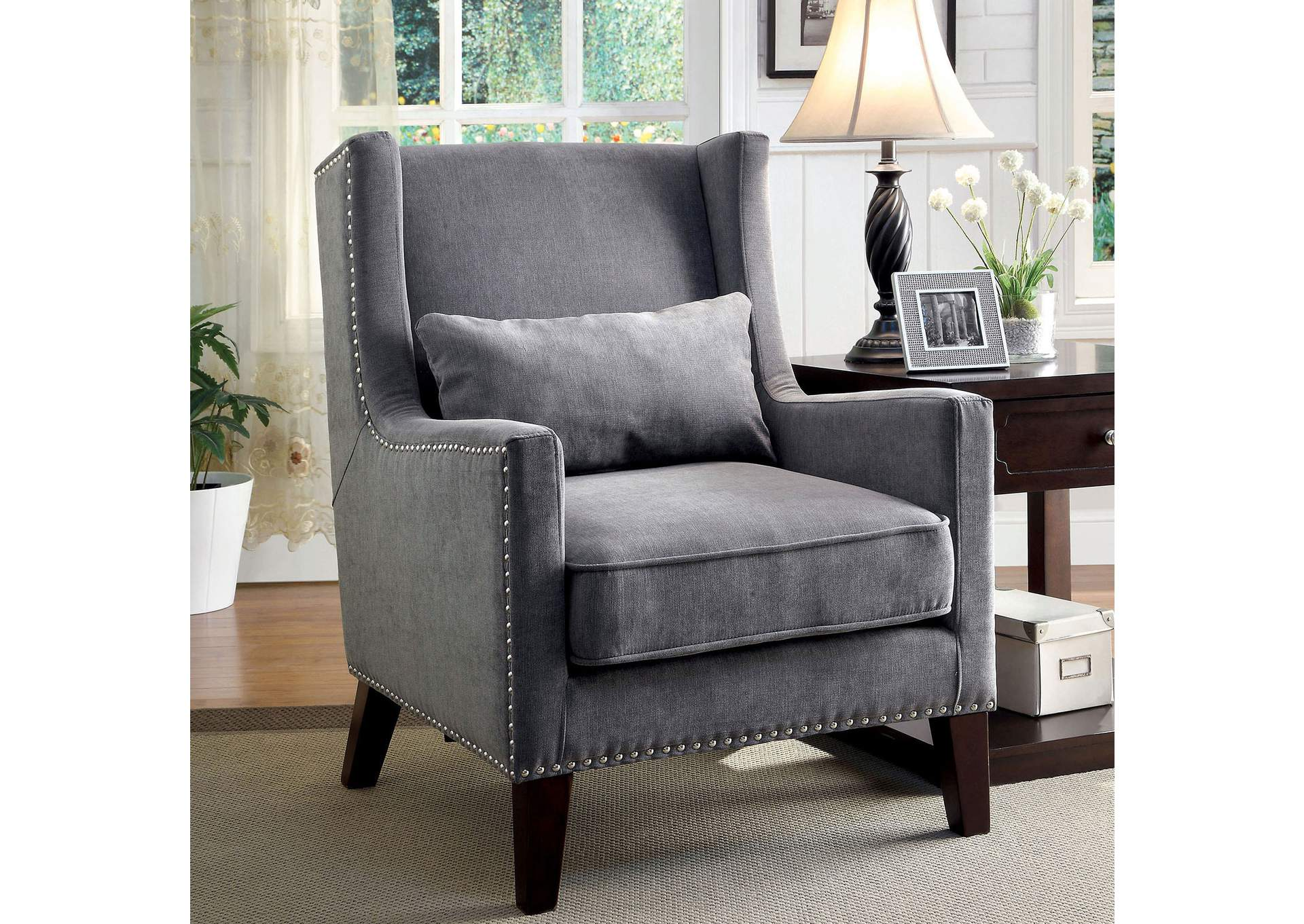 Fabulous 252983 Tomar Gray Wingback Accent Chair W Nailhead Trim Pabps2019 Chair Design Images Pabps2019Com