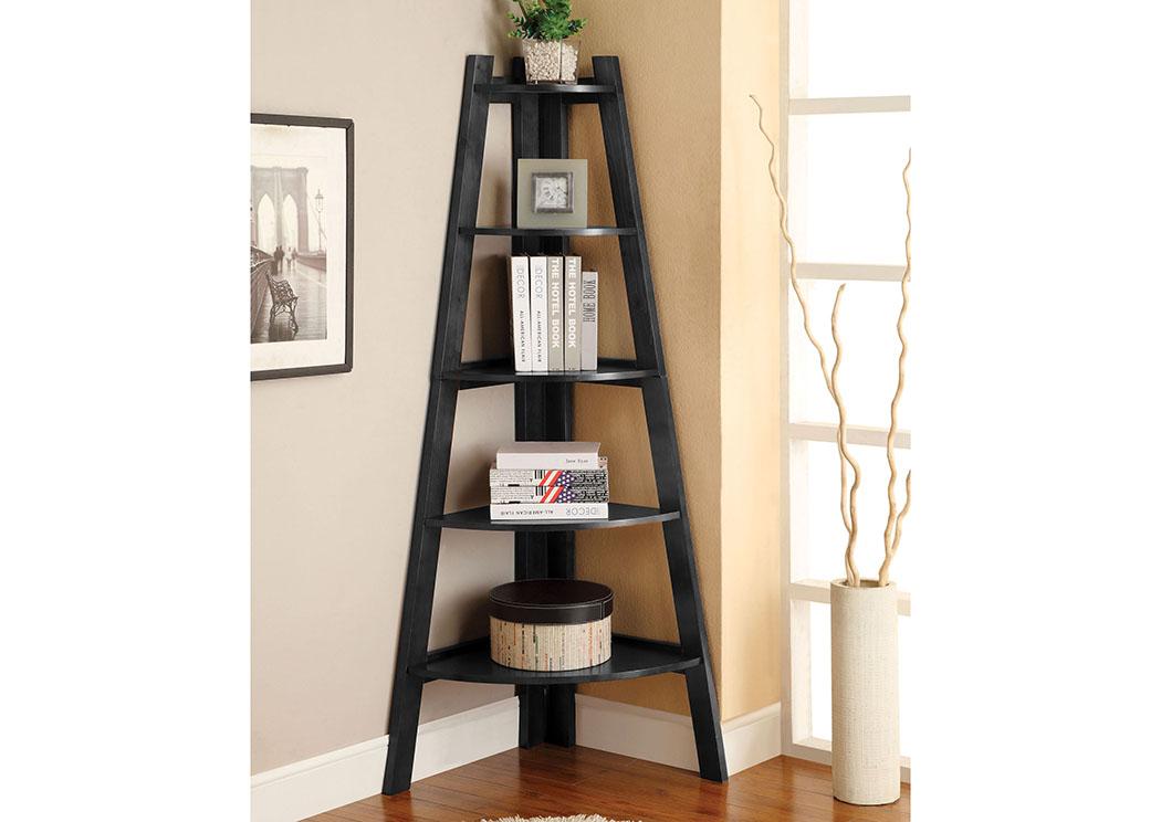 Lyss Black 5 Tier Ladder ShelfFurniture Of America