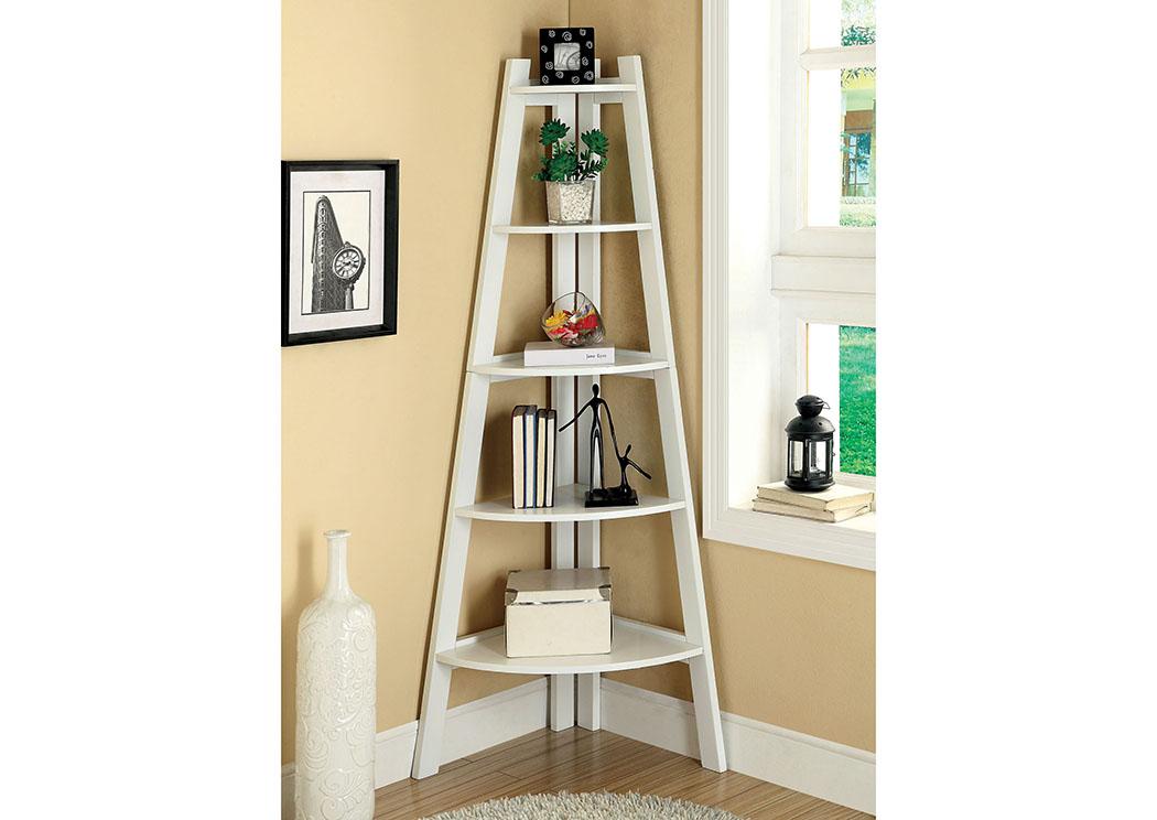 Lyss White 5 Tier Ladder ShelfFurniture Of America