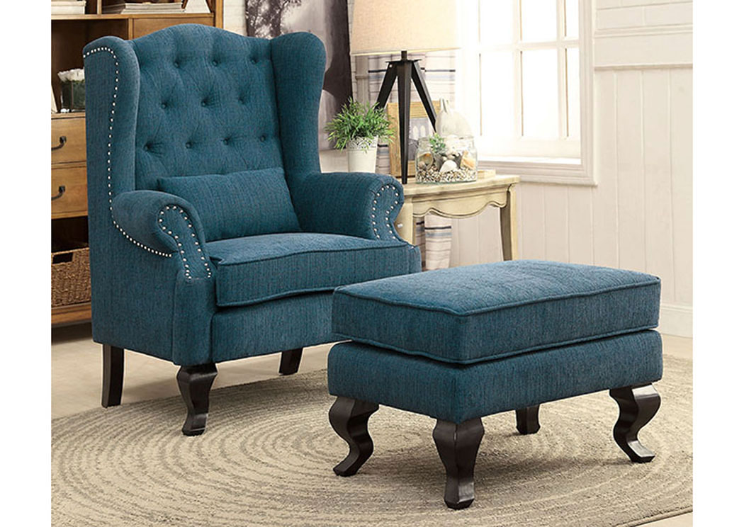 Willow Dark Teal Wing Back Accent Chair,Furniture Of America