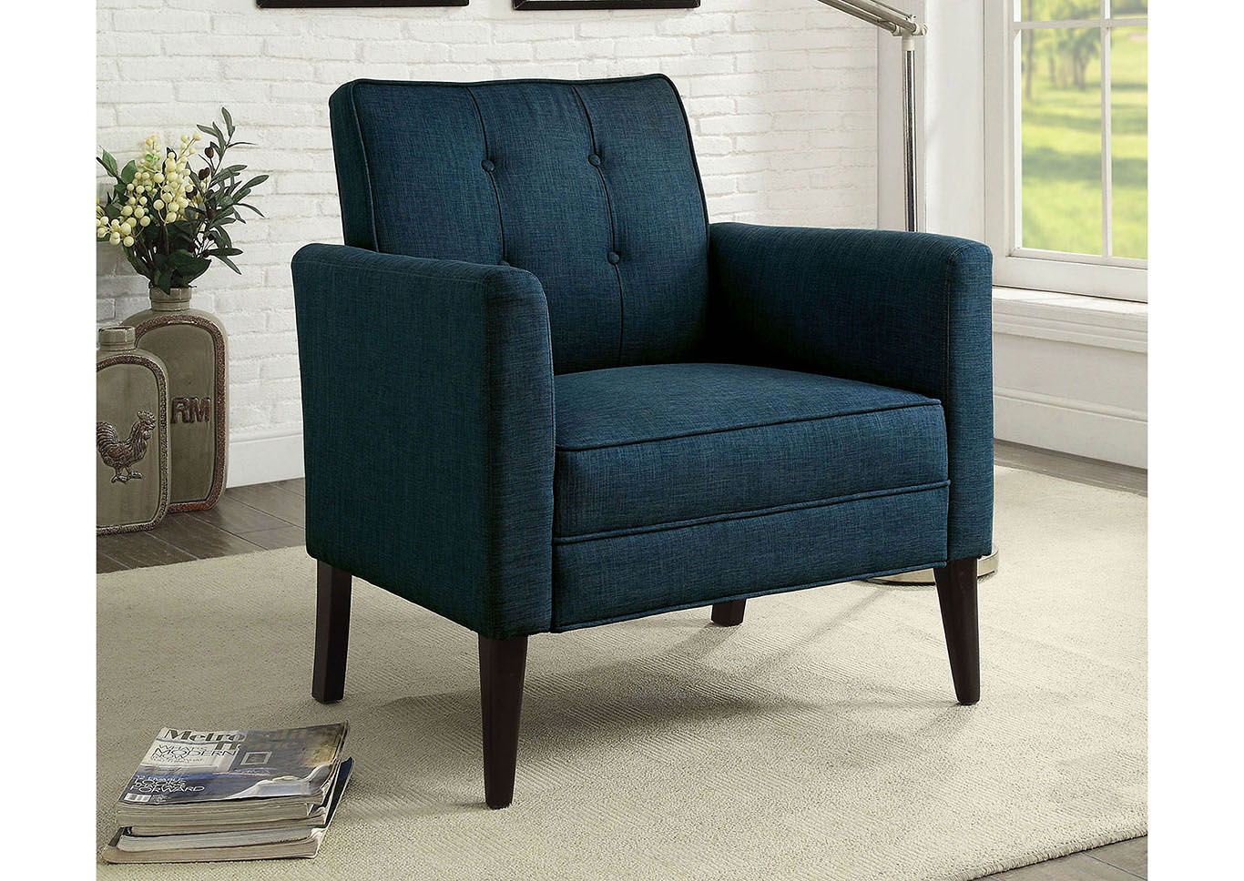 Best Buy Furniture And Mattress Amelie Dark Blue Upholstered Accent