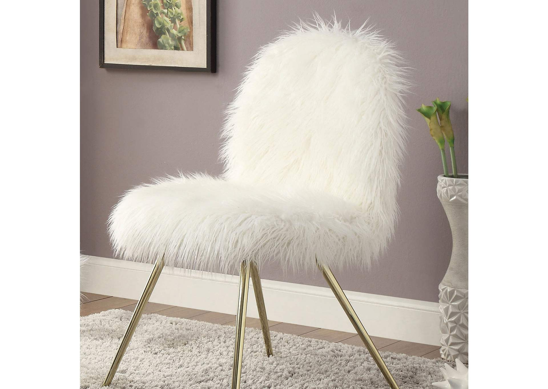 Pleasant Foothills Family Furniture Caoimhe White Gold Faux Fur Alphanode Cool Chair Designs And Ideas Alphanodeonline