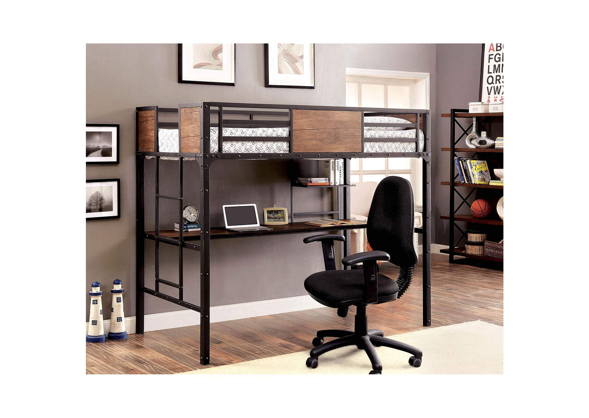 Clapton Black Twin Bed w/Workstation,Furniture of America