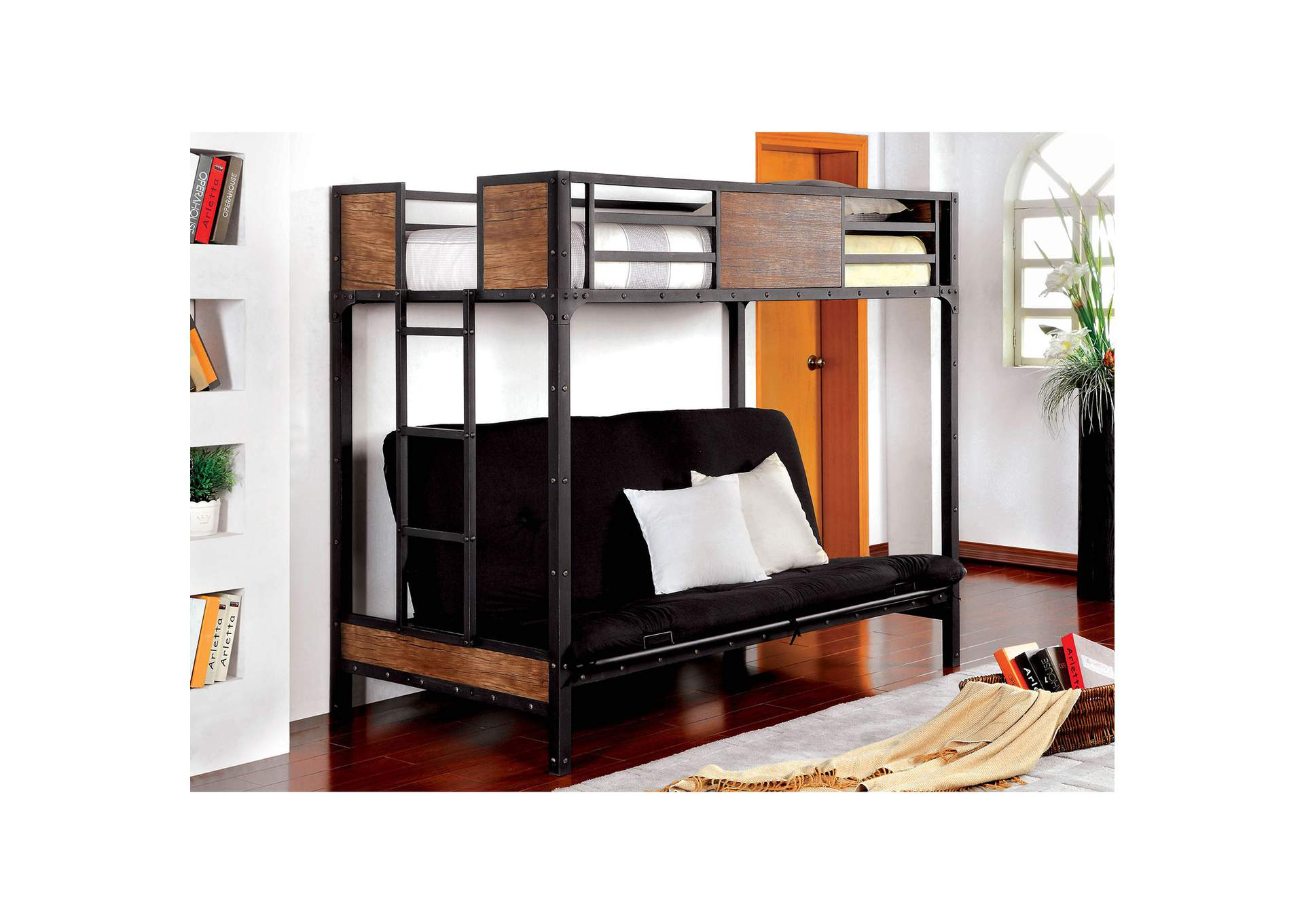 Clapton Black Twin Bed w/Futon Base,Furniture of America