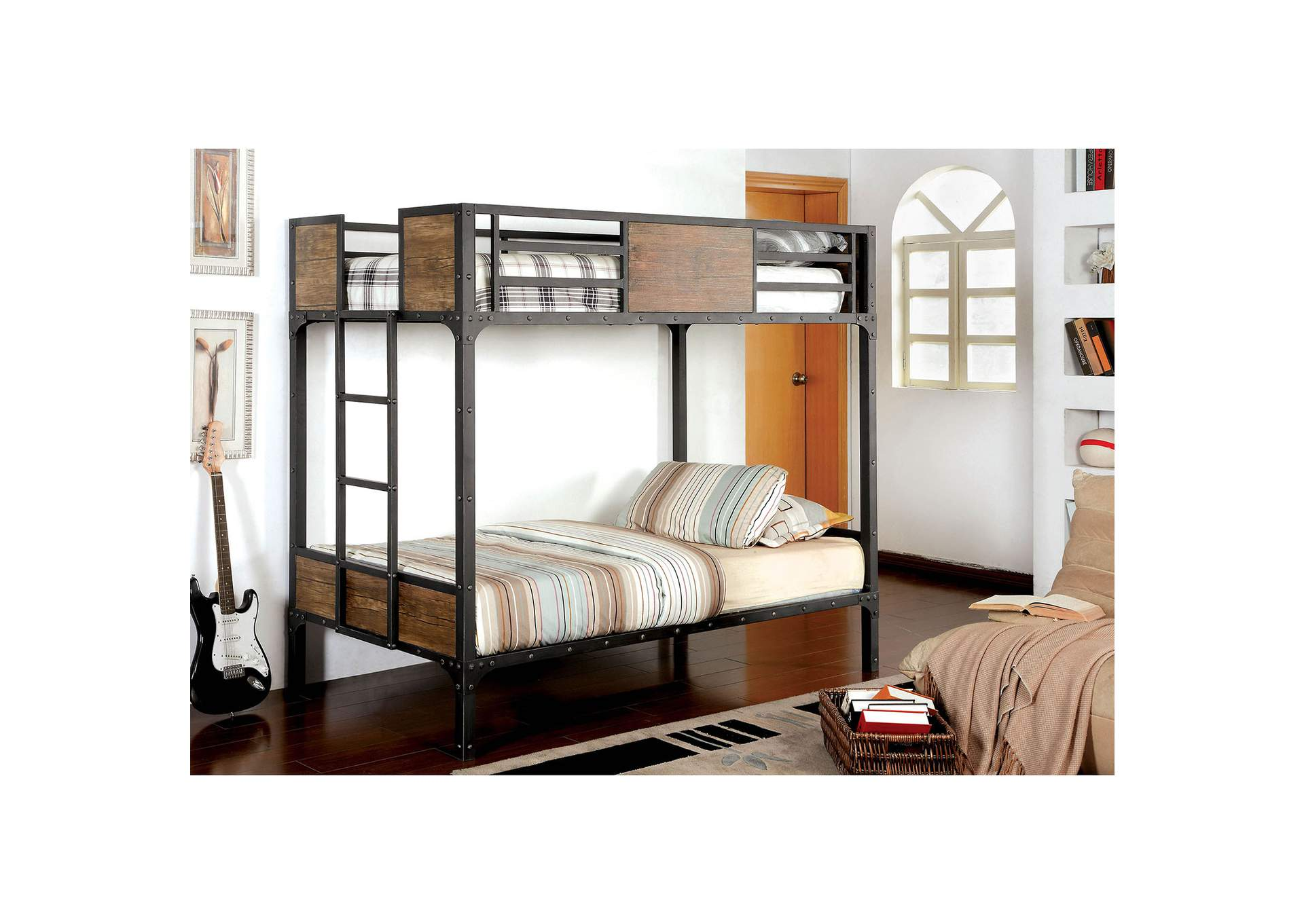 Clapton Black Twin/Twin Bunk Bed,Furniture of America