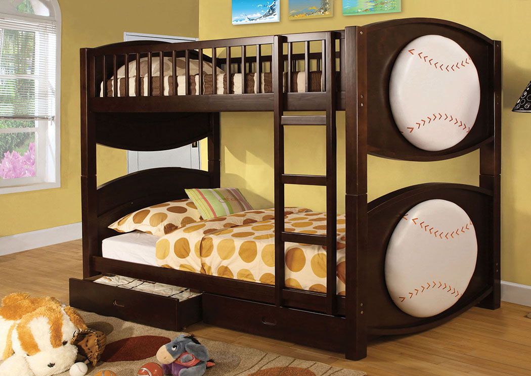 Olympic ll Baseball-Theme Twin Bunk Bed,Furniture of America