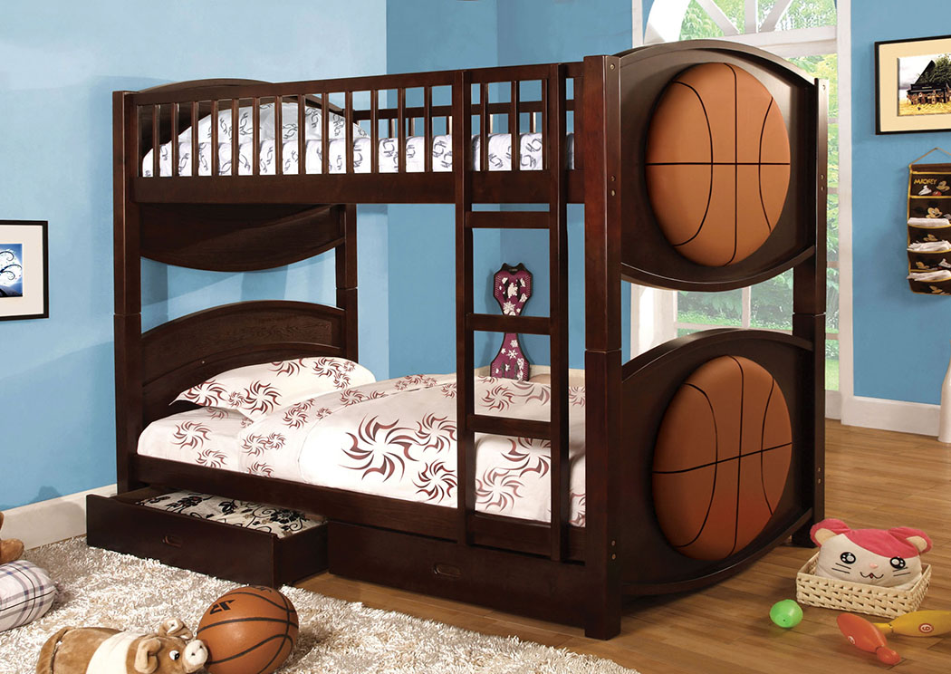 Olympic ll Basketball-Them Bunk Bed w/2 Drawers,Furniture of America