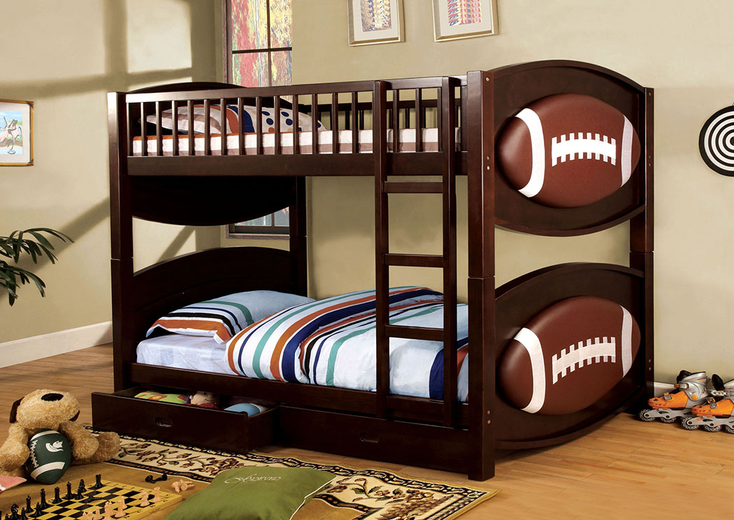 Olympic ll Football-Theme Twin Bunk Bed,Furniture of America