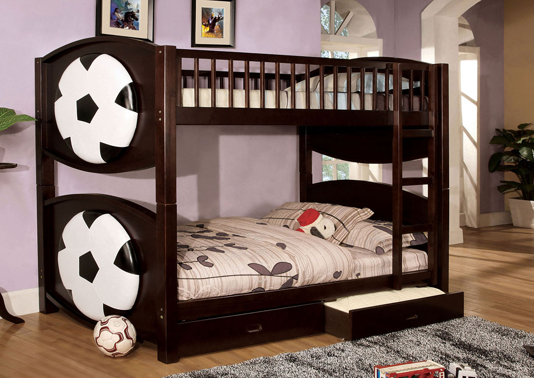 Olympic ll Soccer-Theme Twin Bunk Bed w/2 Drawers,Furniture of America