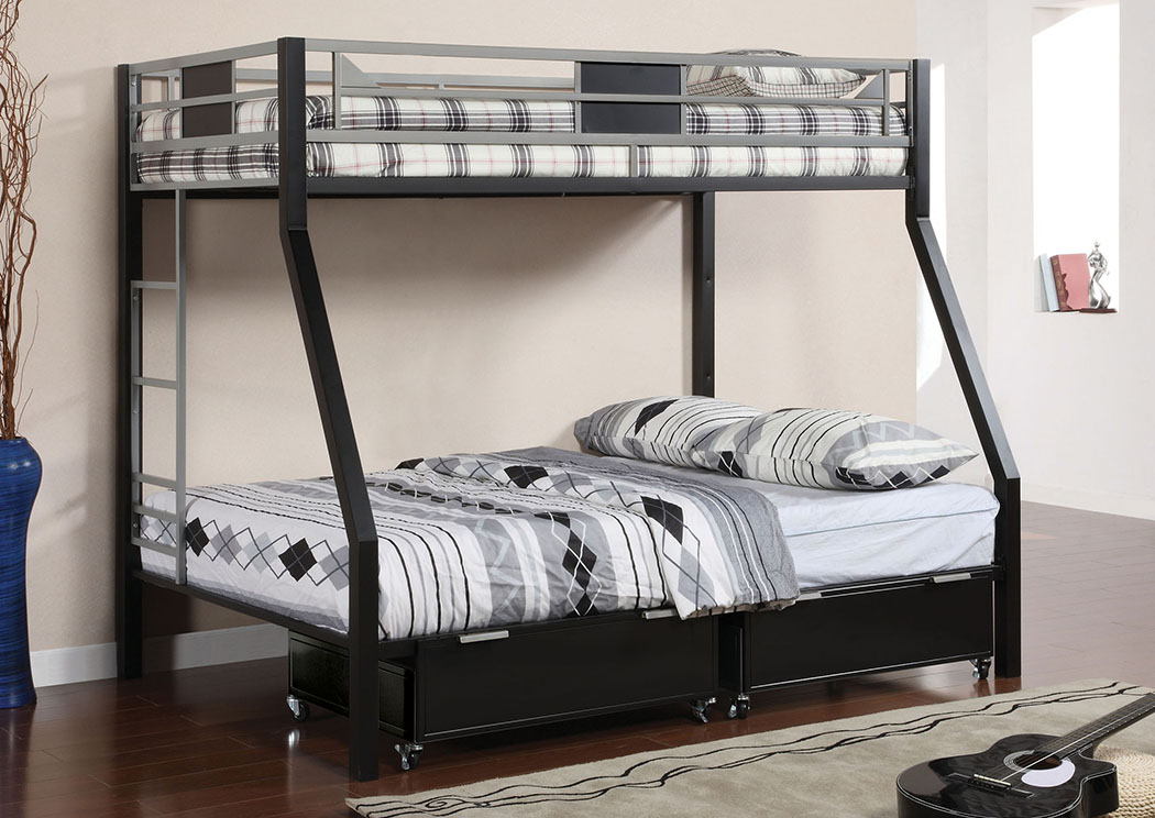 Clifton Twin/Full Metal Bunk Bed w/Drawers & Ladder,Furniture of America