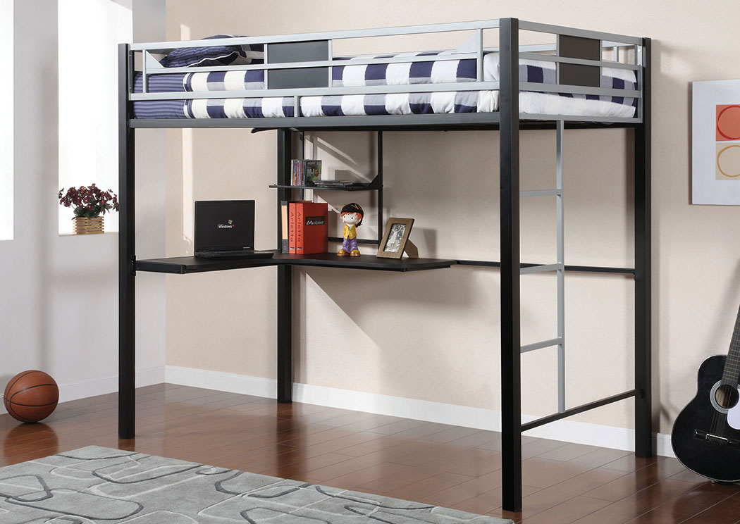 Clifton Full Metal Loft Bed w/Workstation,Furniture of America
