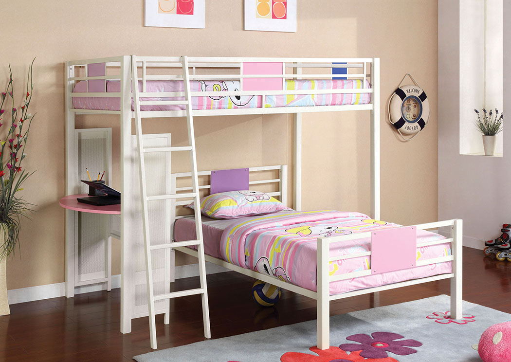 Summerville Pink/White Twin/Twin Metal Bunk Bed,Furniture of America