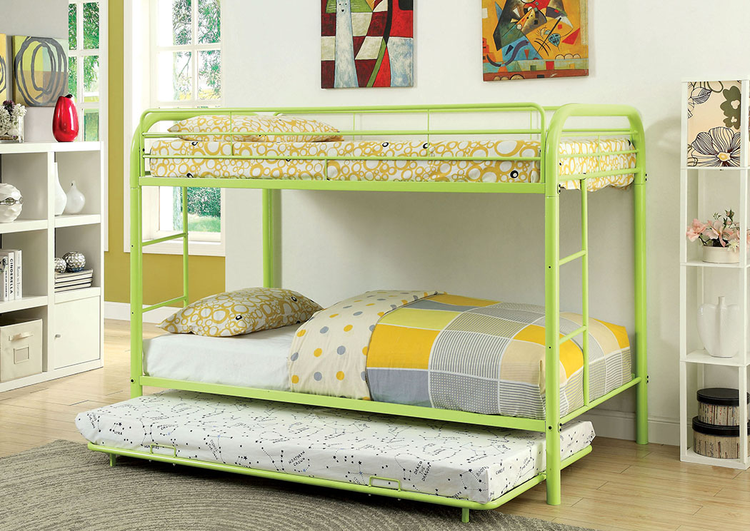 Rainbow Green Twin Metal Bunk Bed,Furniture of America