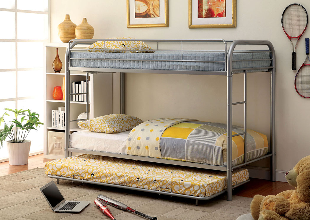 Rainbow Silver Twin Metal Bunk Bed,Furniture of America