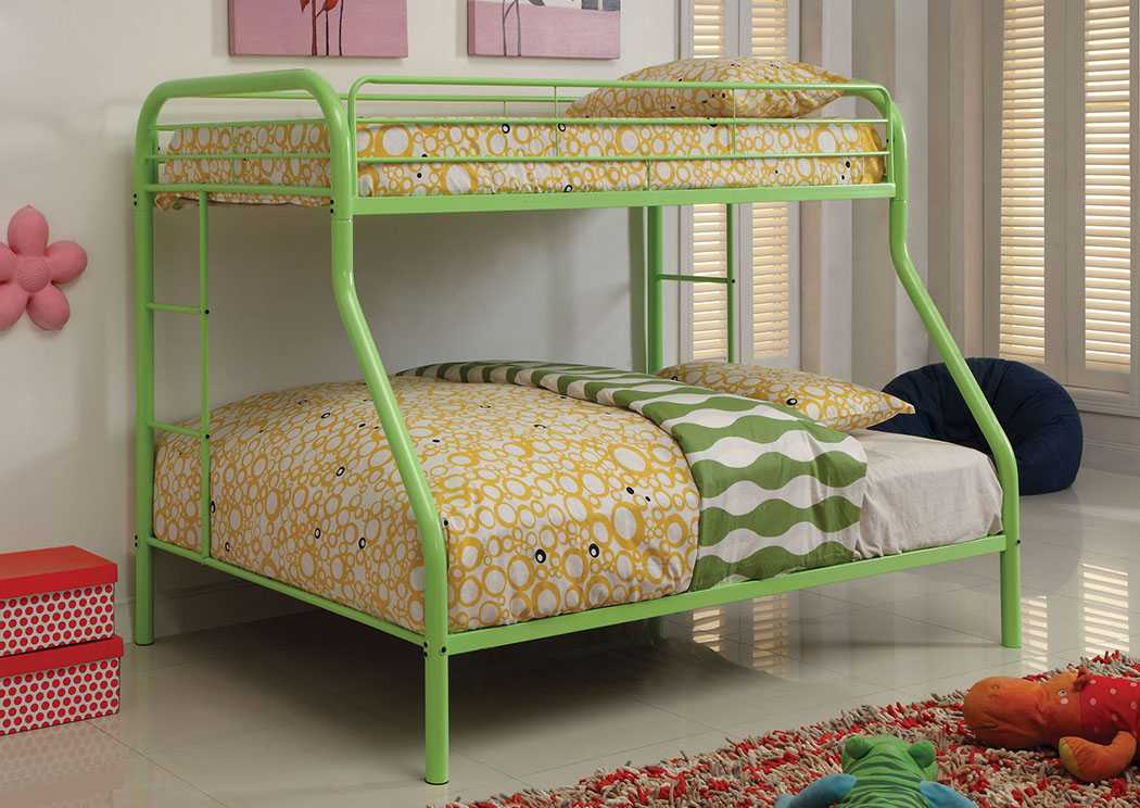 Rainbow Green Twin/Full Metal Bunk Bed,Furniture of America