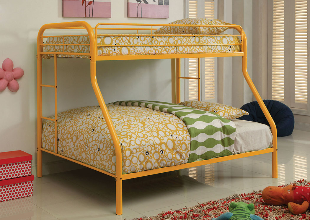 Rainbow Orange Twin/Full Metal Bunk Bed,Furniture of America