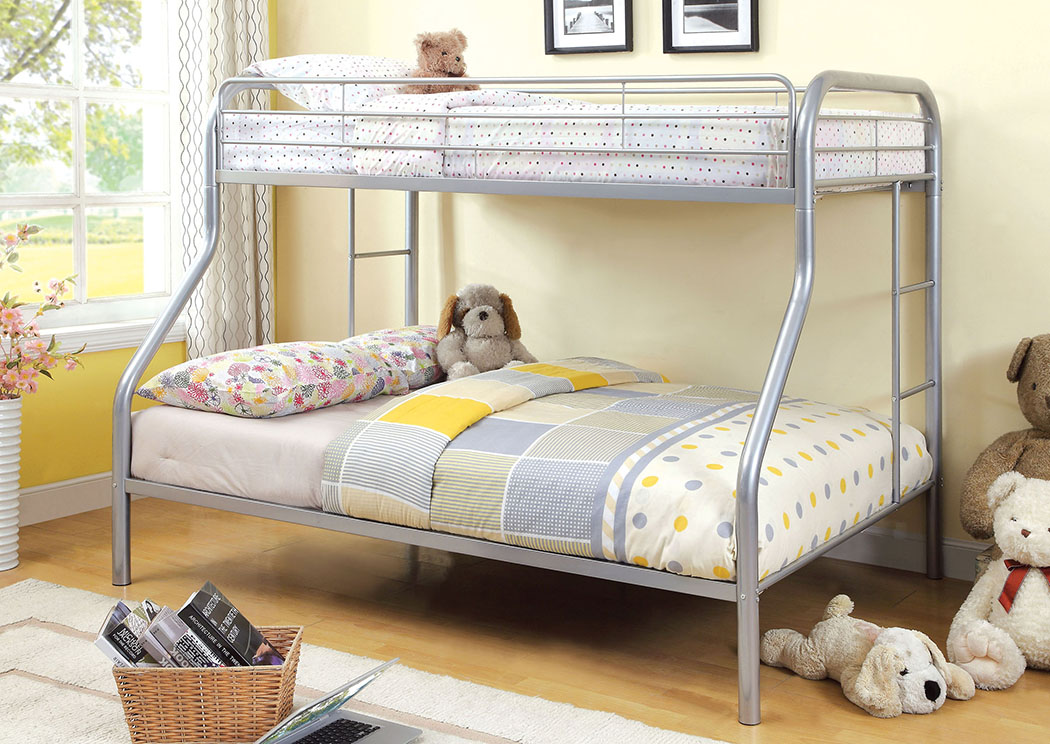 Rainbow Silver Twin/Full Metal Bunk Bed,Furniture of America