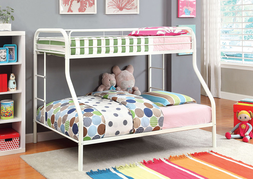 Rainbow White Twin/Full Metal Bunk Bed,Furniture of America