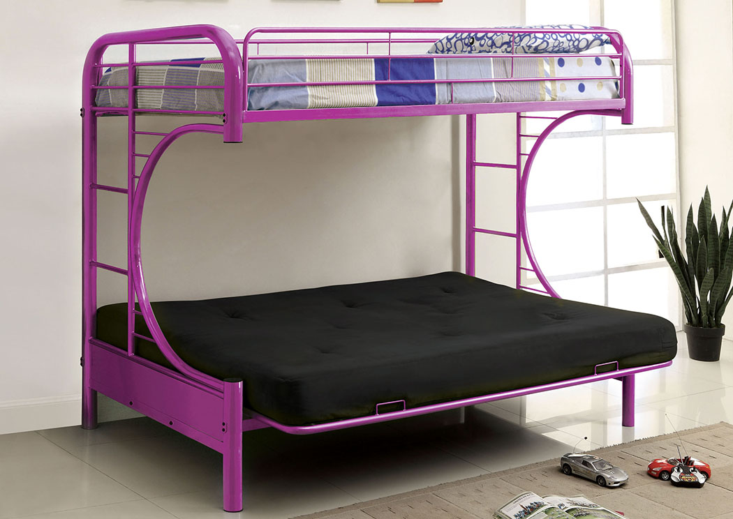 Rainbow Purple Twin Metal Futon Bunk Bed,Furniture of America