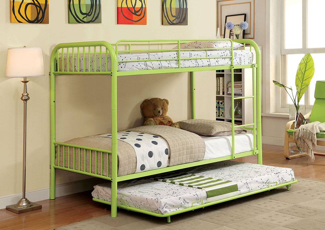 Rainbow Green Twin Metal Bunk Bed w/Trundle,Furniture of America