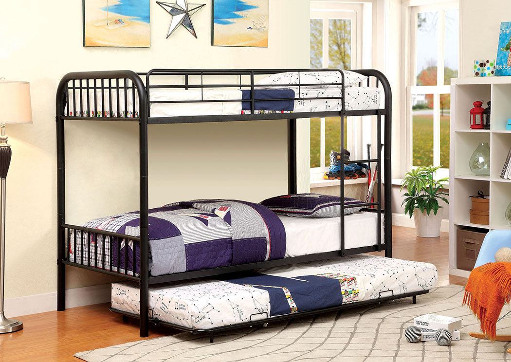 Rainbow Black Twin Metal Bunk Bed w/Trundle,Furniture of America