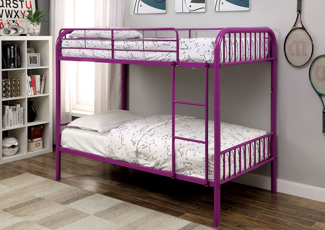 Rainbow Purple Twin Metal Bunk Bed w/Trundle,Furniture of America