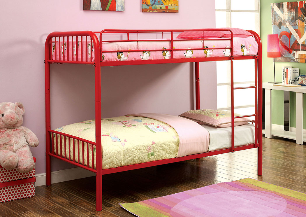Rainbow Red Twin Metal Bunk Bed,Furniture of America