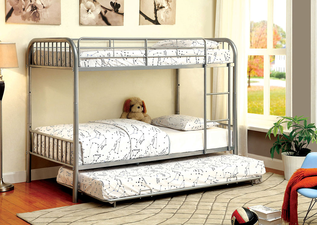 Rainbow Silver Twin Metal Bunk Bed w/Trundle,Furniture of America