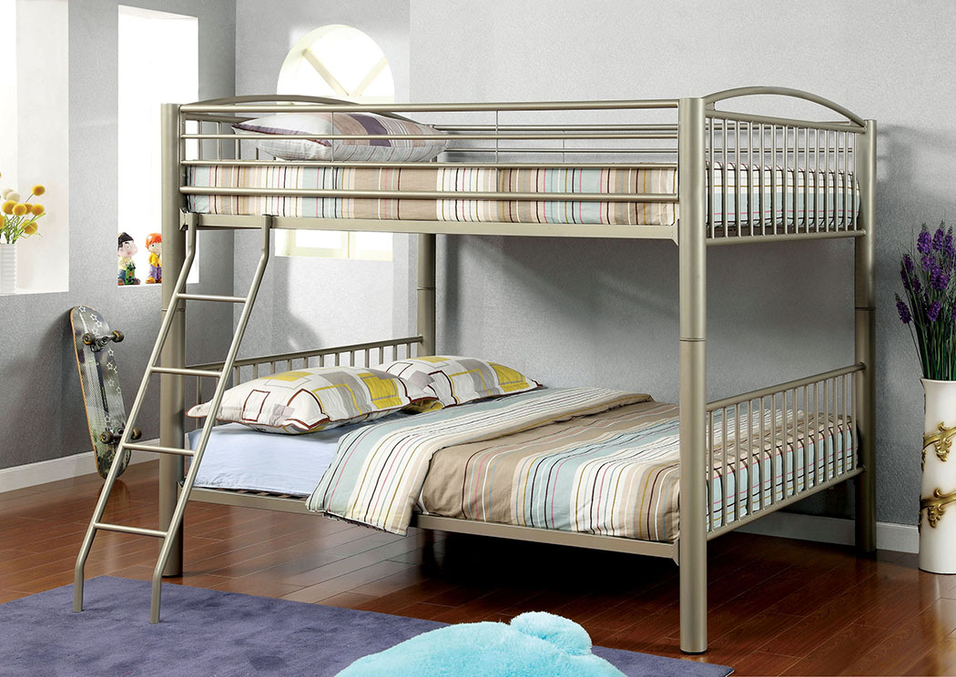 Lovia Metallic Gold Full Metal Bunk Bed,Furniture of America