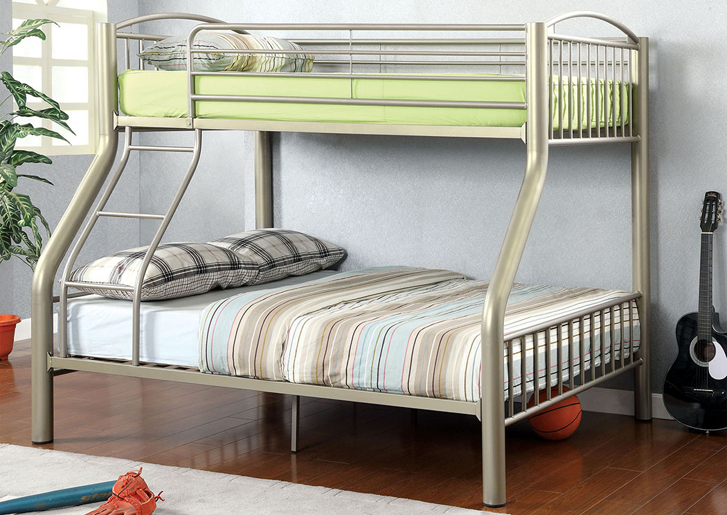 Lovia Metallic Gold Twin/Full Metal Bunk Bed,Furniture of America