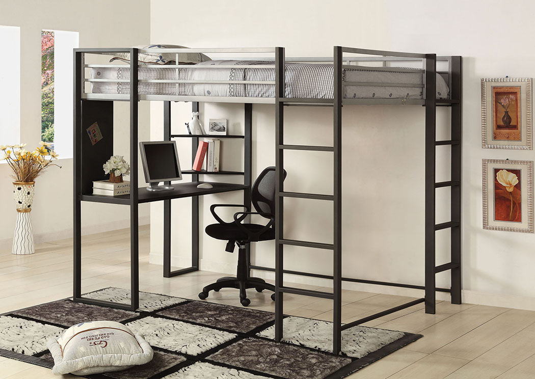 Sherman Full Metal Bed w/Workstation,Furniture of America