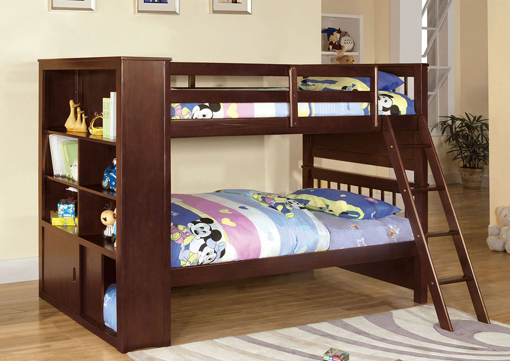 Hayden Espresso Twin Bookcase Bunk Bed,Furniture of America