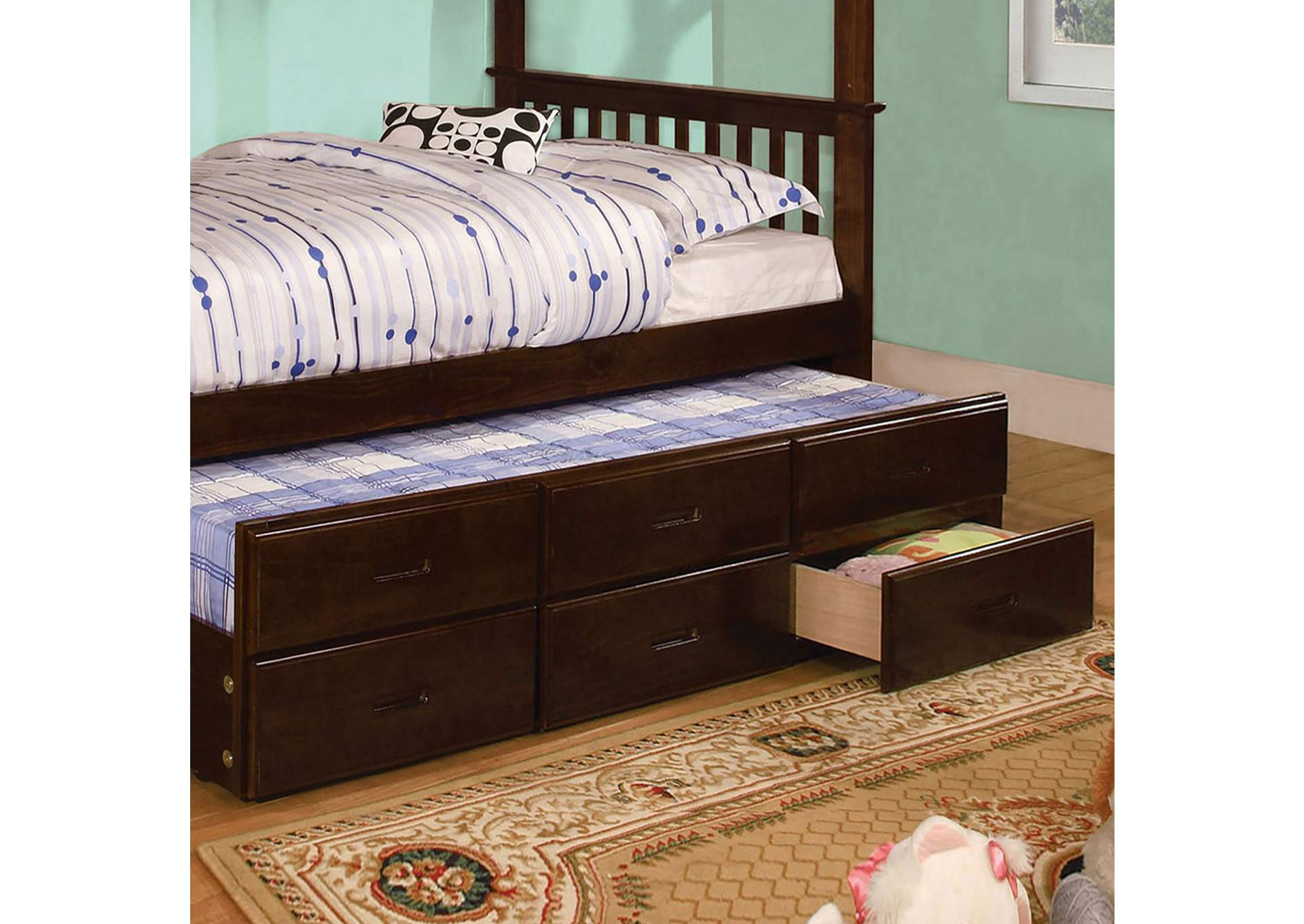 University Dark Walnut Twin Trundle w/3 Drawers,Furniture of America