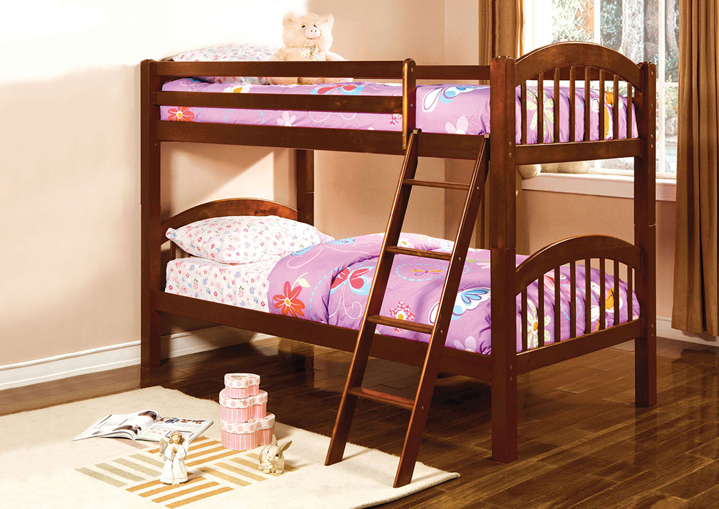 Coney Island Cherry Twin Bunk Bed,Furniture of America