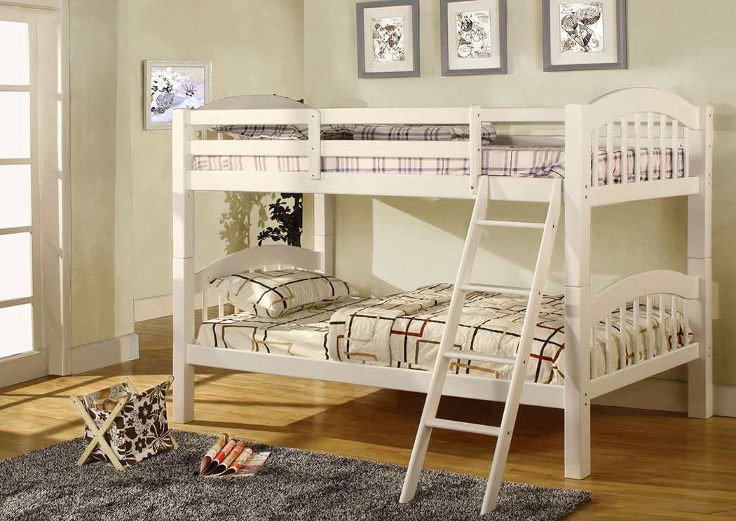 Coney Island White Twin Bunk Bed,Furniture of America