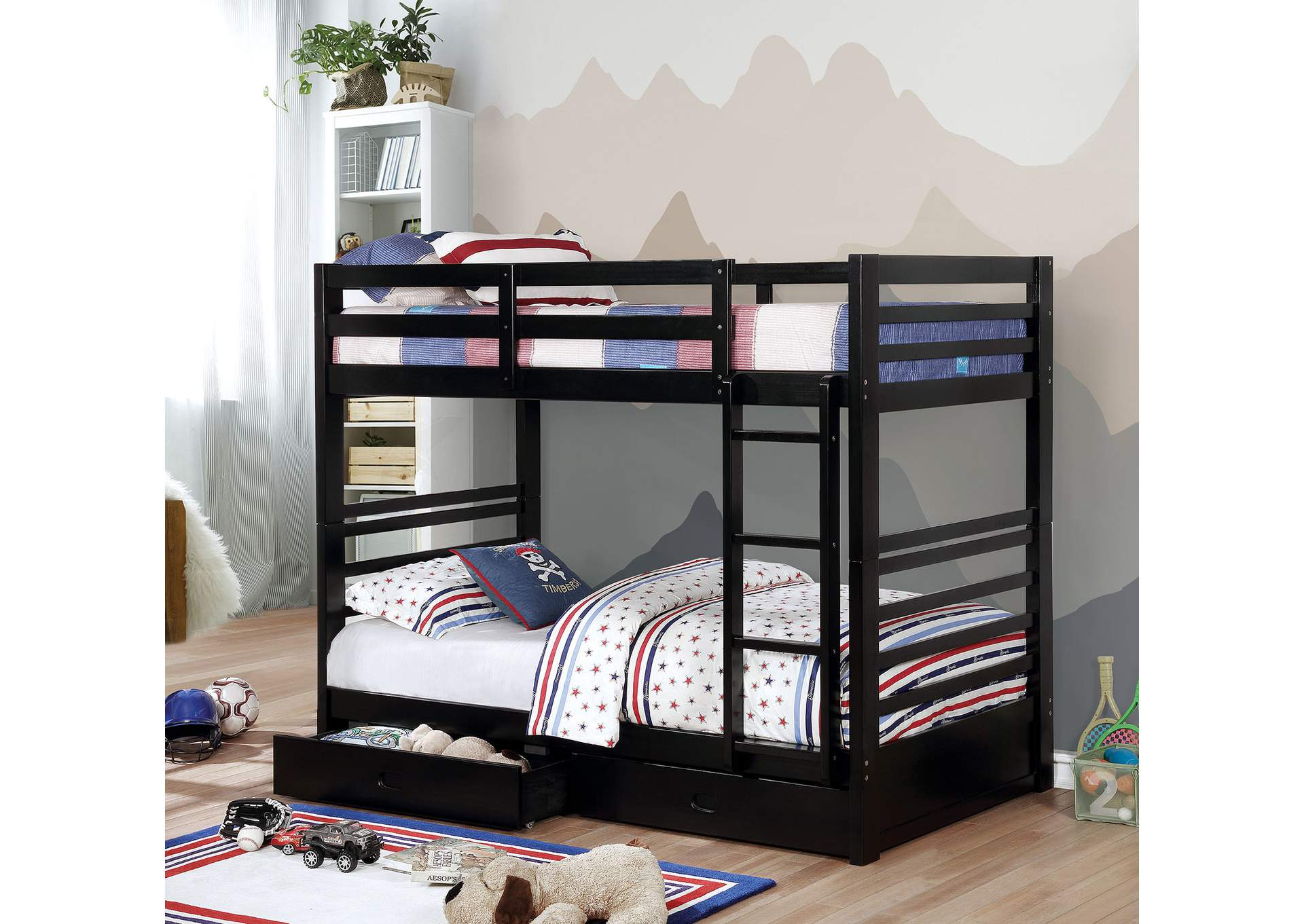 California IV Black Twin/Twin Bunk Bed,Furniture of America