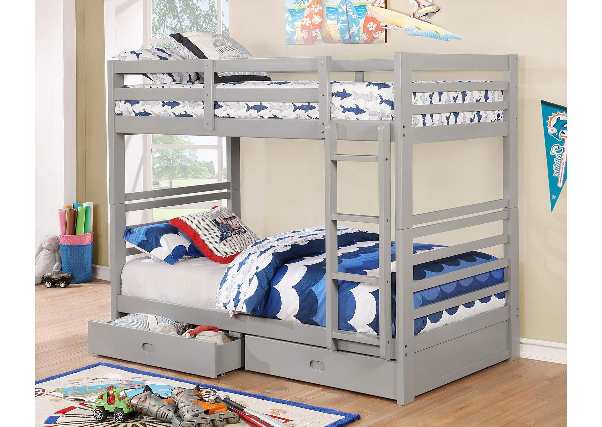 California IV Gray Twin/Twin Bunk Bed,Furniture of America