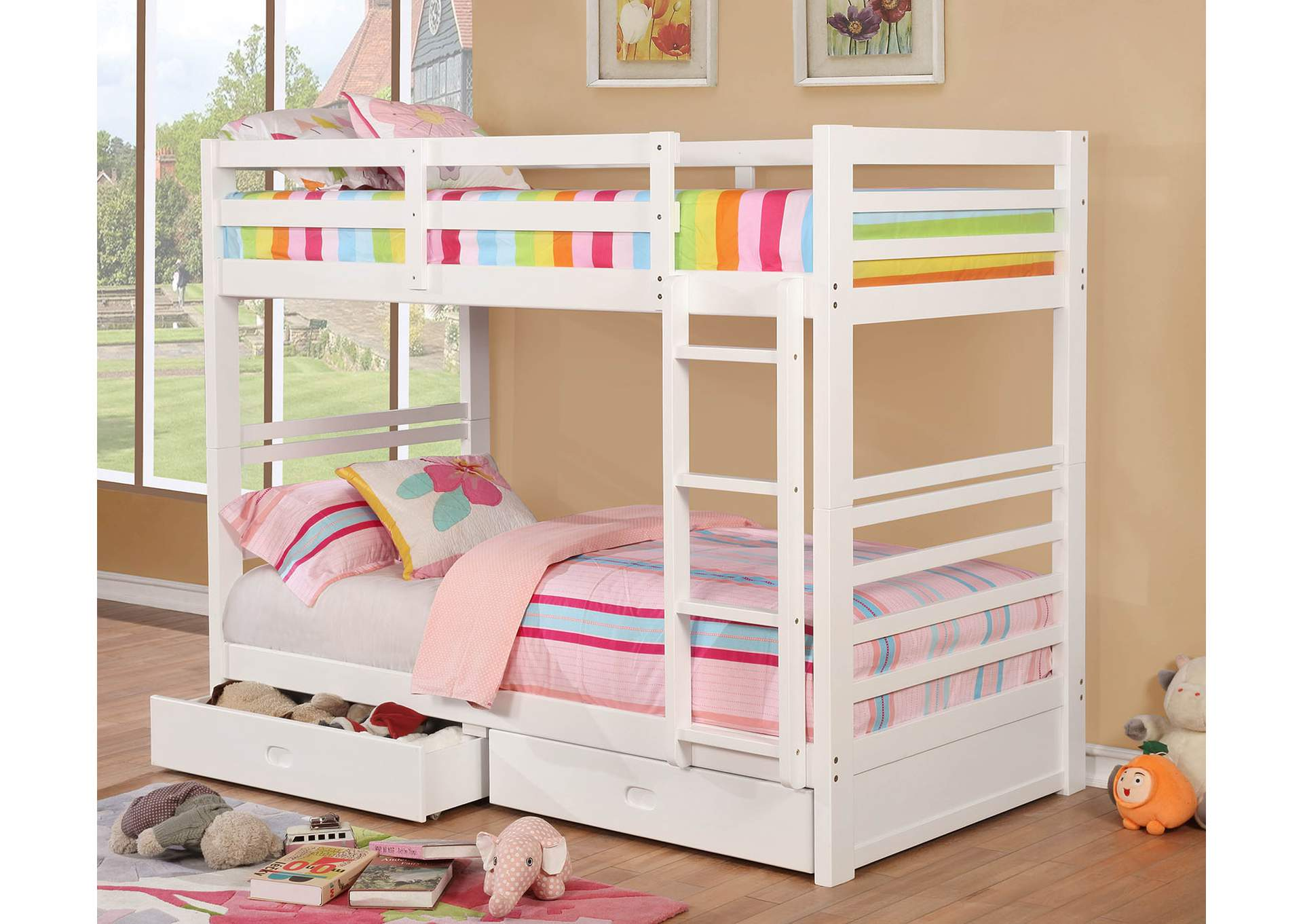 California IV White Twin/Twin Bunk Bed,Furniture of America