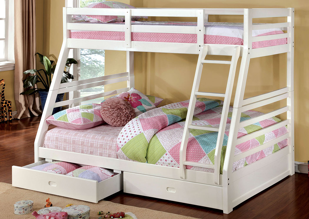 California lll White Twin/Full Bunk Bed w/2 Drawers,Furniture of America