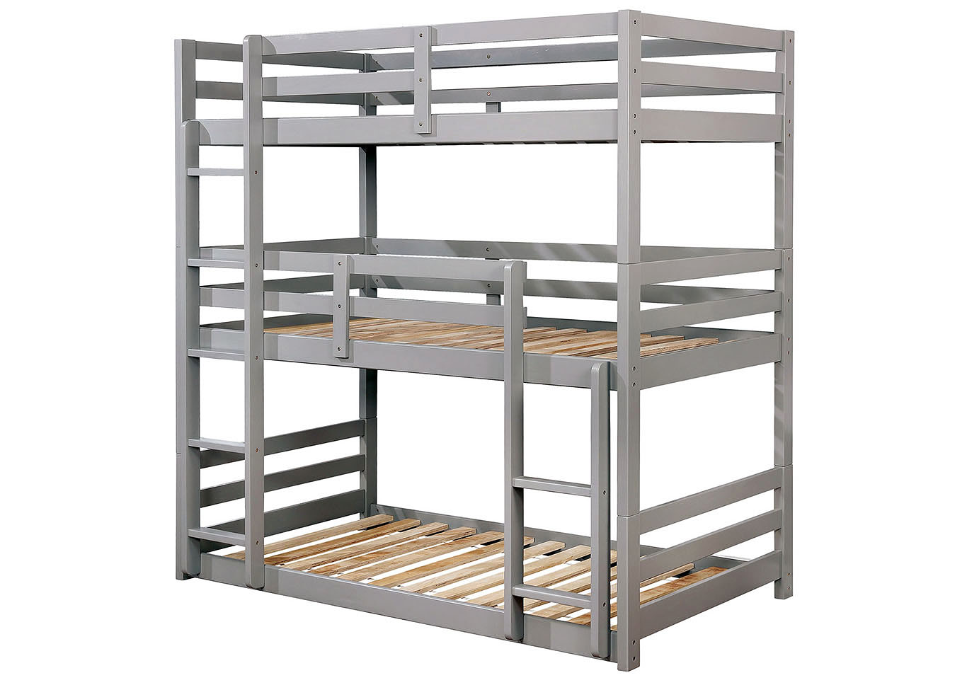 California V Gray Twin/Twin/Twin 3-Tiered Bunk Bed,Furniture of America