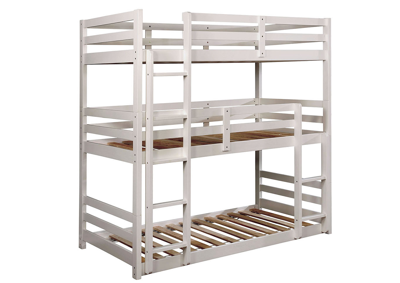 California V White Twin/Twin/Twin 3-Tiered Bunk Bed,Furniture of America