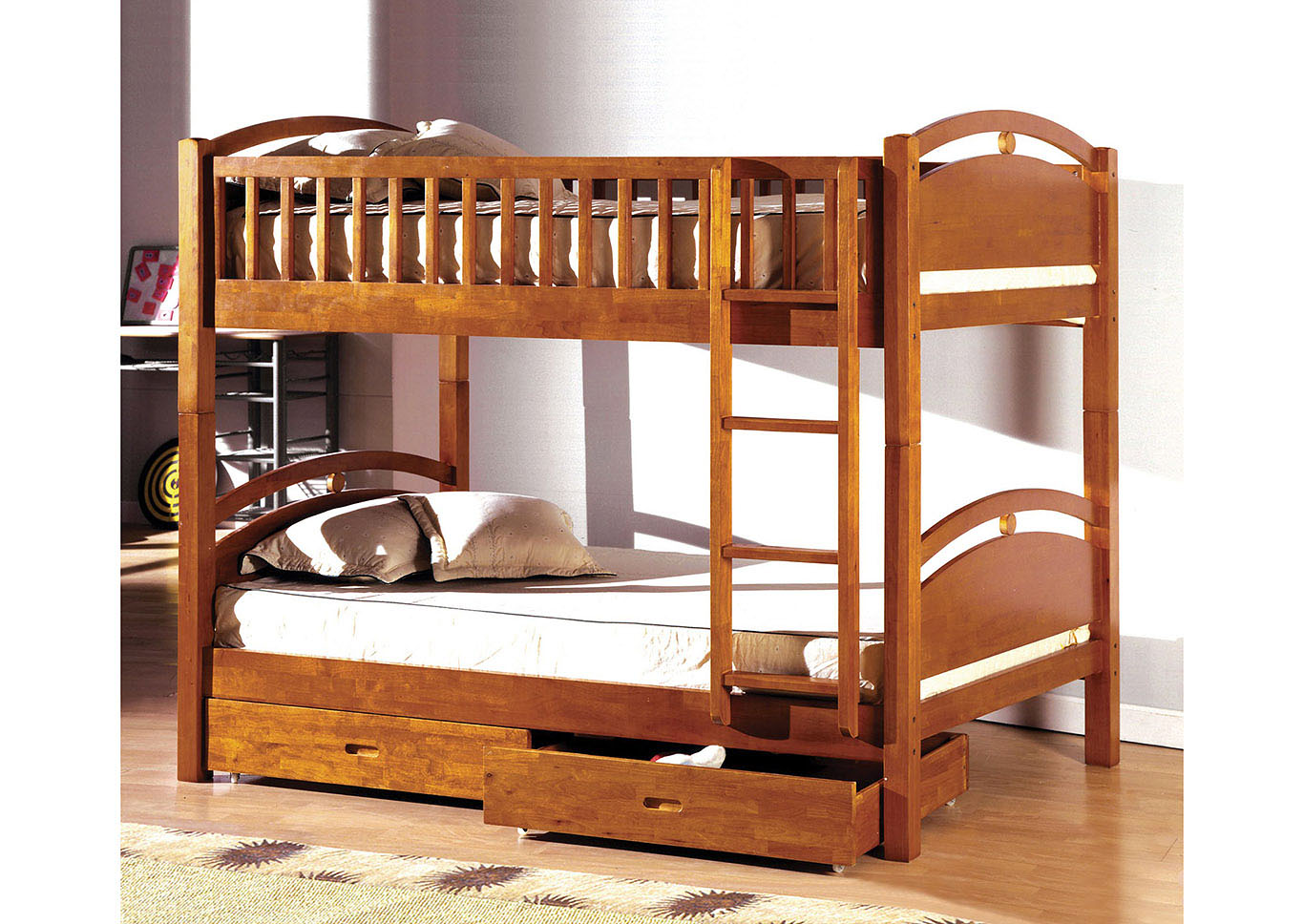 California l Oak Twin Bunk Bed w/2 Drawers,Furniture of America